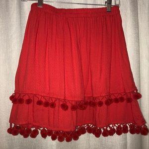 Dresses & Skirts - Red skirt with Pom poms!